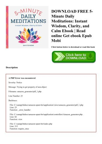 DOWNLOAD FREE 5-Minute Daily Meditations Instant Wisdom  Clarity  and Calm Ebook  Read online Get ebook Epub Mobi