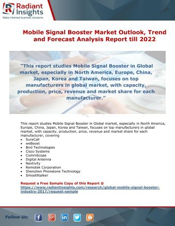 Mobile Signal Booster Market Size, Outlook and Forecast Report till 2022