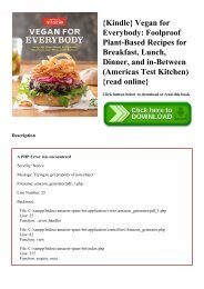 {Kindle} Vegan for Everybody Foolproof Plant-Based Recipes for Breakfast  Lunch  Dinner  and in-Between (Americas Test Kitchen) {read online}