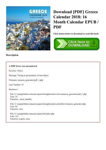 Download [PDF] Greece Calendar 2018 16 Month Calendar EPUB  PDF