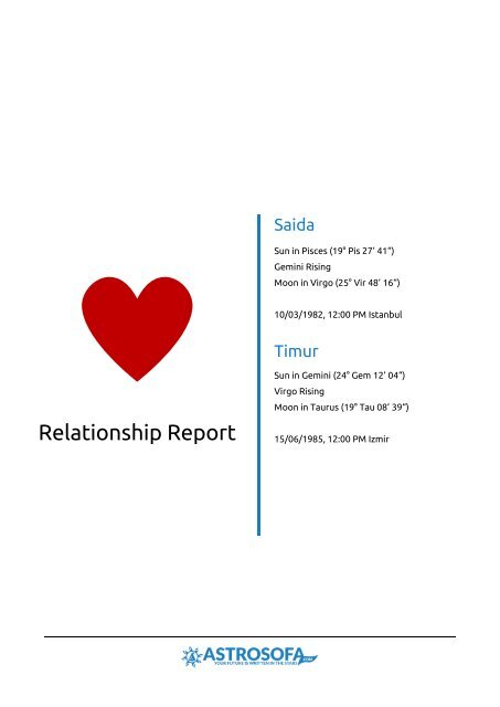 Relationship Report Saida and Timur