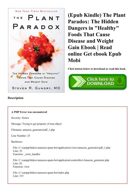 Epub Kindle) The Plant Paradox The Hidden Dangers in Healthy
