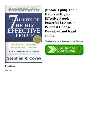 [EbooK Epub] The 7 Habits of Highly Effective People Powerful Lessons in Personal Change Download and Read online