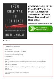 ((DOWNLOAD)) EPUB From Cold War to Hot Peace An American Ambassador in Putin's Russia Download and Read online
