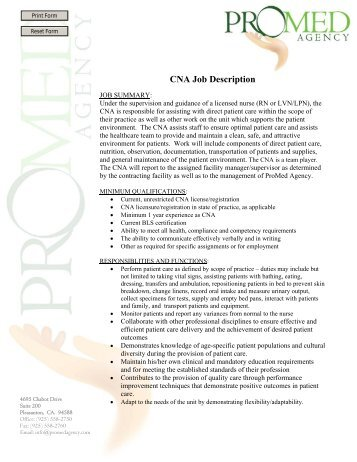 Rn Job Description  Promed Agency