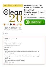 Download [PDF] The Clean 20 20 Foods  20 Days  Total Transformation Forman EPUB  PDF