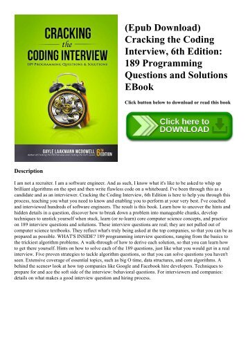 (Epub Download) Cracking the Coding Interview  6th Edition 189 Programming Questions and Solutions EBook