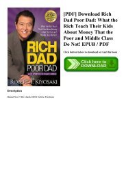 [PDF] Download Rich Dad Poor Dad What the Rich Teach Their Kids About Money That the Poor and Middle Class Do Not! EPUB  PDF