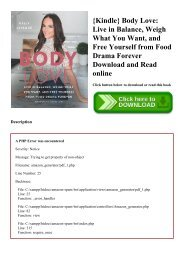 {Kindle} Body Love Live in Balance  Weigh What You Want  and Free Yourself from Food Drama Forever Download and Read online