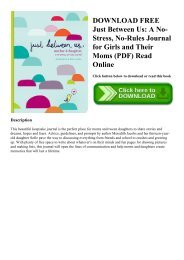 DOWNLOAD FREE Just Between Us A No-Stress  No-Rules Journal for Girls and Their Moms (PDF) Read Online