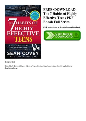 FREE~DOWNLOAD The 7 Habits of Highly Effective Teens PDF Ebook Full Series