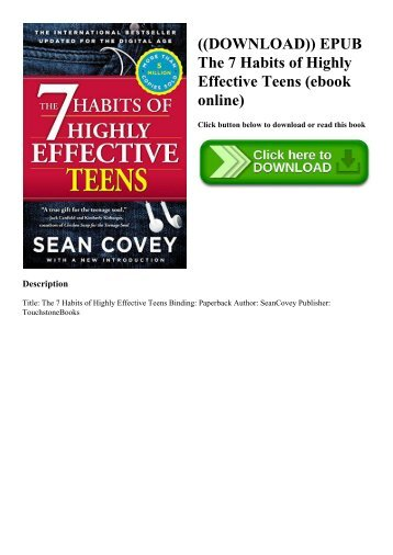 ((DOWNLOAD)) EPUB The 7 Habits of Highly Effective Teens (ebook online)