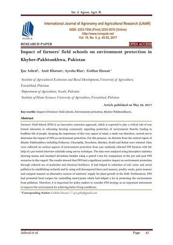 Impact of farmers' field schools on environment protection in Khyber-Pakhtunkhwa, Pakistan