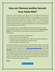 How can I Remove another Account from Yahoo Mail?