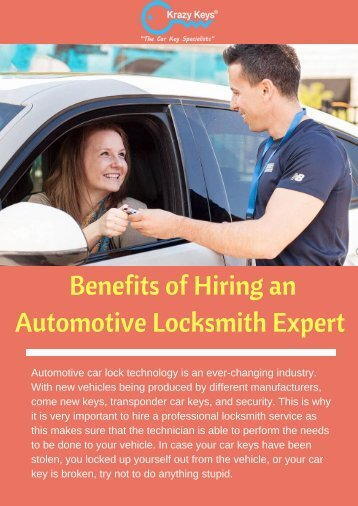 Hire an Automotive Locksmith Expert for Car Key Replacement