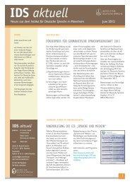 IDS aktuell Juni 2012 - Institut für Deutsche Sprache