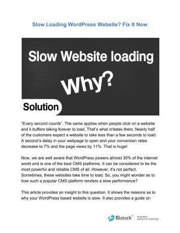 Slow Loading WordPress Website? Fix It Now
