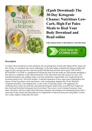 (Epub Download) The 30-Day Ketogenic Cleanse Nutritious Low-Carb  High-Fat Paleo Meals to Heal Your Body Download and Read online