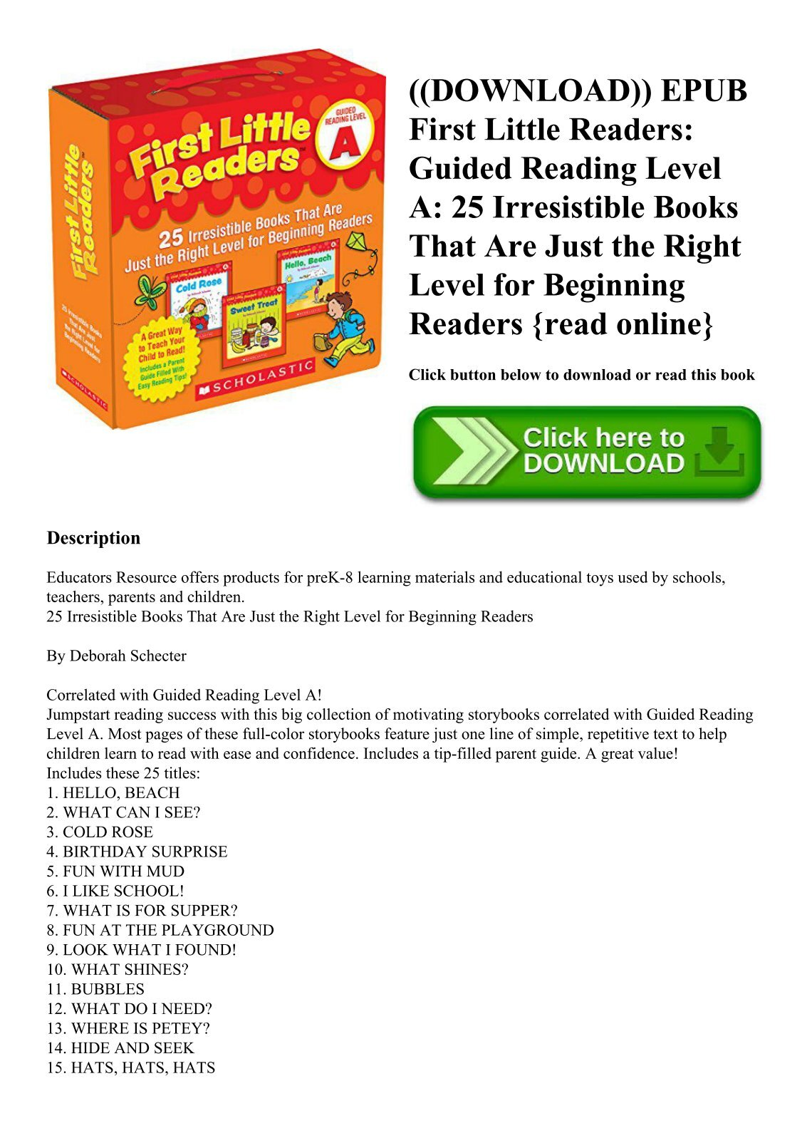 daltonfeeney. English; |; 3 Documents; |; 0 Views. ((DOWNLOAD)) EPUB First  Little Readers Guided Reading Level A 25 Irresistible Books