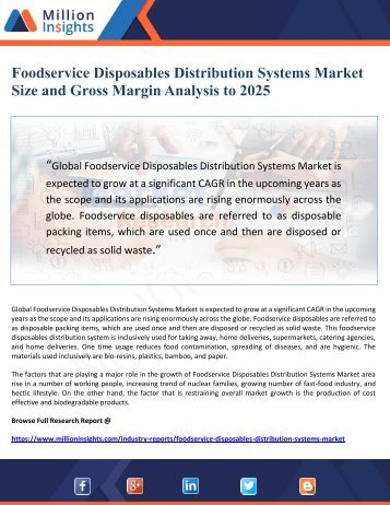 Foodservice Disposables Distribution Systems Market Size and Gross Margin Analysis to 2025