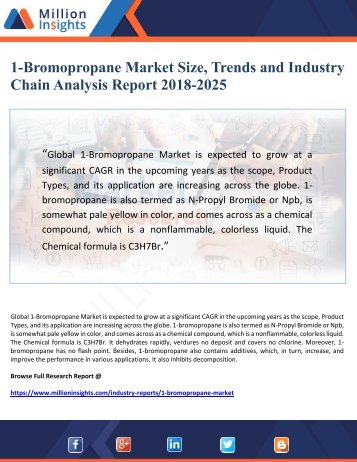 1-Bromopropane Market Size, Trends and Industry Chain Analysis Report 2018-2025