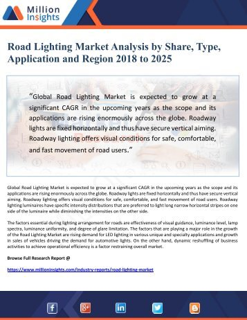 Road Lighting Market Analysis by Share, Type, Application and Region 2018 to 2025