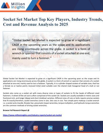 Socket Set Market Top Key Players, Industry Trends, Cost and Revenue Analysis to 2025