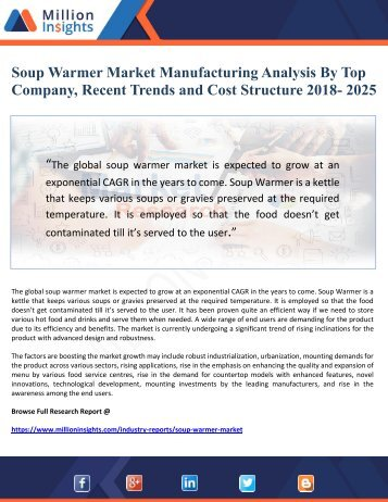 Soup Warmer Market Manufacturing Analysis By Top Company, Recent Trends and Cost Structure 2018- 2025