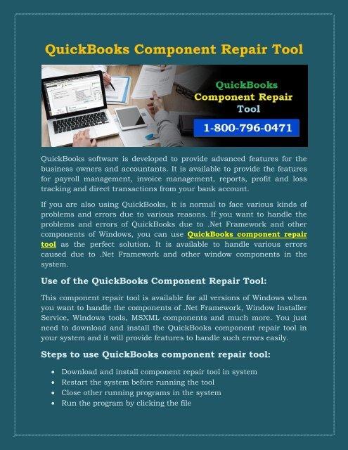 1800-796-0471: QuickBooks Component Repair Tool