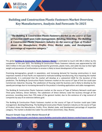 Building and Construction Plastic Fasteners Market Overview, Key Manufacturers, Analysis And Forecasts To 2025
