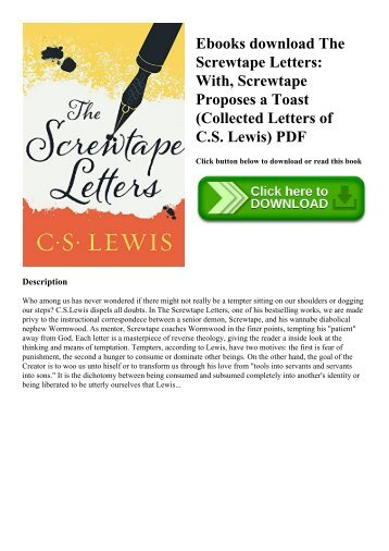 ebooks download the screwtape letters with screwtape proposes a toast collected letters of cs lewis