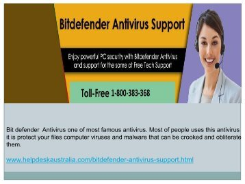 1-800-383-368 Troubleshooting  Issue  Bit Defender Antivirus Tech Support Phone Number