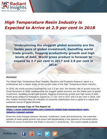High Temperature Resin Industry is Expected to Arrive at 2.9 per cent in 2018