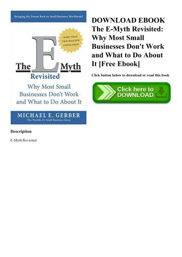 Pdf] book the e-myth revisited: why most small businesses don t work….