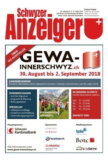 Schwyzer Anzeiger – Woche 35 – 31. August 2018