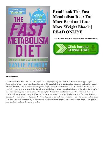 Read book The Fast Metabolism Diet Eat More Food and Lose More Weight Ebook  READ ONLINE