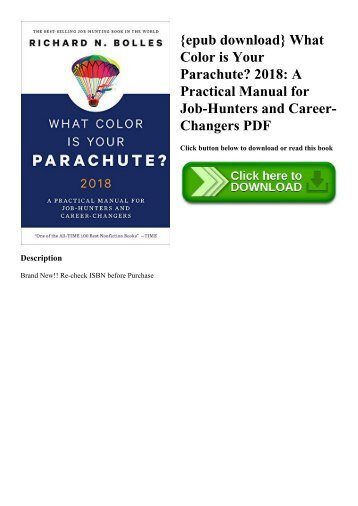 {epub download} What Color is Your Parachute 2018 A Practical Manual for Job-Hunters and Career-Changers PDF