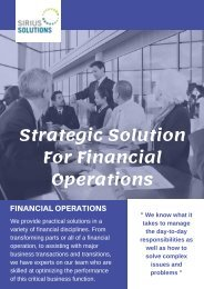 Practical Solutions For Financial Operations | Sirius Solutions