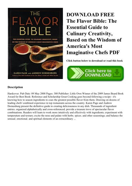 DOWNLOAD FREE The Flavor Bible The Essential Guide to Culinary Creativity  Based on the Wisdom of America's Most Imaginative Chefs PDF