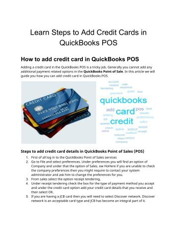 How do I add credit card in QuickBooks Point-of-sale - PosTechie 18009350532