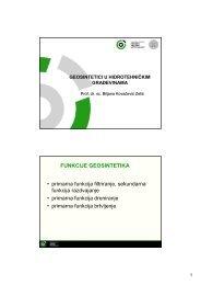FUNKCIJE GEOSINTETIKA • primarna funkcija filtriranje ...