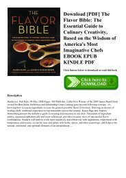 Download [PDF] The Flavor Bible The Essential Guide to Culinary Creativity  Based on the Wisdom of America's Most Imaginative Chefs EBOOK EPUB KINDLE PDF