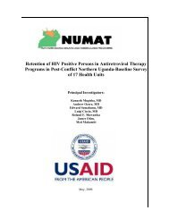 Retention of HIV Positive Persons in Antiretroviral Therapy ... - NUMAT