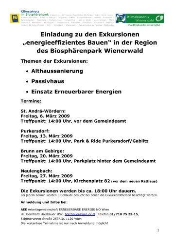 """Einladung zu den Exkursionen """"energieeffizientes Bauen"""" in ... - ATOS"""