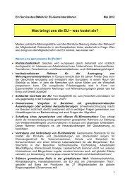Was bringt uns die EU – was kostet sie?