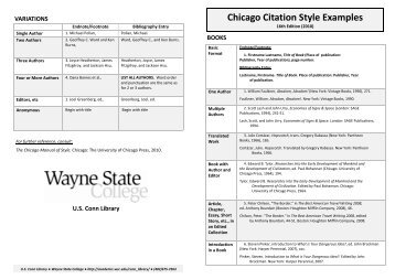 Chicago Citation Style Examples 16th Ed  - WSC - Wayne State ...