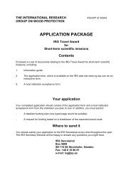 application package - IRG. International Research Group on Wood ...