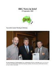 IRG News in brief 19 September 2003 - IRG. International Research ...