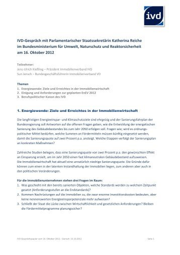 IVD-Gespräch mit Parlamentarischer Staatssekretärin Katherina ...