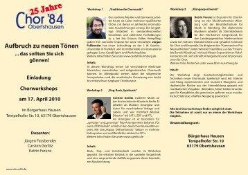 Workshop Flyer - MC Saengerlust Hausen und Chor 84 Obertshausen